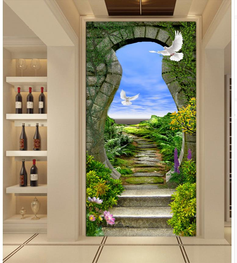 3d mural wallpaper nature entrance door ladder photo for Door mural wallpaper
