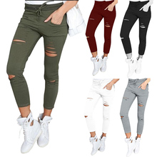 Hot Women Legging Cropped Pants Drawstring Slim High Waist Stretch Elastic Hole Pencil Trouser Plus Size MSK66