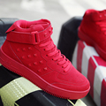 Botines de cuña Otoño Gran Código 39-46 de alta remache zapatos de Deporte Entrenadores Atan Para Arriba los zapatos Planos De Cuero Rojo Botas de Ante Zapatos de Hombre