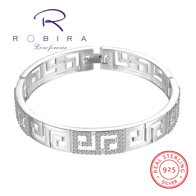 Robira Brand Hollow Bangle 2017 New Women Fashion Shiny 925 Sterling Silver Bracelets & Bangles High Quality Fashion Jewelry