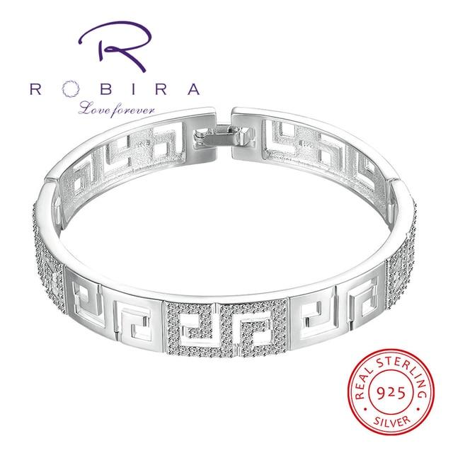 Robira Brand Hollow Bangle 2017 New Women Fashion Shiny 925 Sterling Silver Bracelets & Bangles High Quality Fashion Jewelry