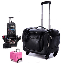 Crocodile Rolling Luggage Spinner Women Cosmetic Case Multi-function Trolley Carry On travel Suitcases Wheel Cabin Travel Bag letrend rolling luggage spinner oxford travel duffle password suitcase wheel carry on trolley case women cabin school bag