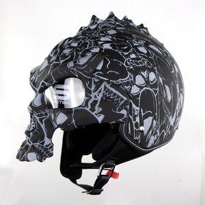 Image 2 - DOT Skull Motorcycle helmet Retro half face Chopper helmets Motorbike Capacete Moto Cascos Racing Armet Masei