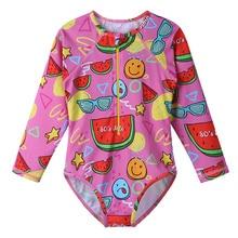 BAOHULU Cute Cool Girls Swimwear One Piece Kids Cartoon Swimsuit with Fruit Pattern Children Beach Bathing Suit Swimming Wear