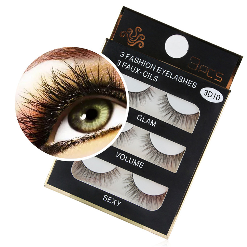 3D False Eyelashes Long Natural Artificial Fur Fake Eyelashes Party Daily 3 Pair Lashes Drop Shipping 80309 Mar29