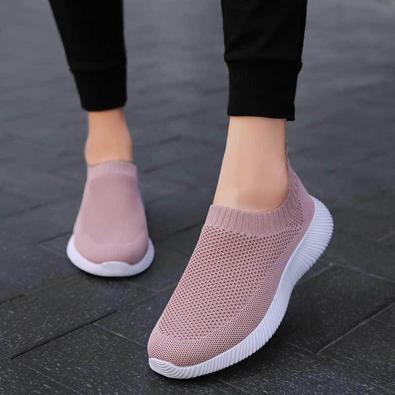 Giày nữ Đan Mút Giày Nữ Trơn Trượt Trên Giày Đế Bằng Nữ Plus Kích Thước Cho Nữ Dạo Phố krasovki Famela