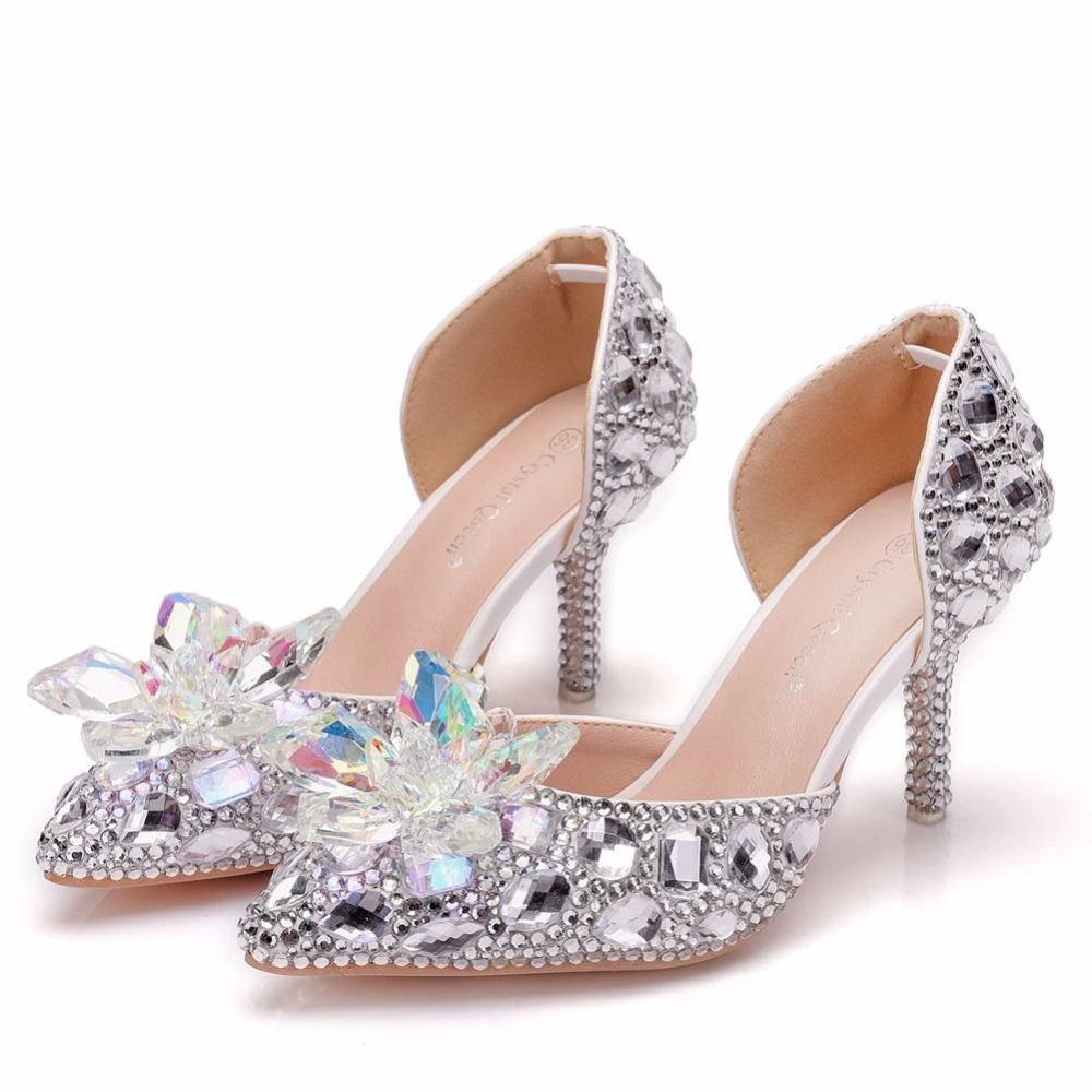 Lace Thin Heels Pointed Flower Heel White Shoes Wedding Female Multicolor  Sandals Pearls Rhinestone Women Toe High Pumps silver Queen Crystal qYE6x 920c43916354