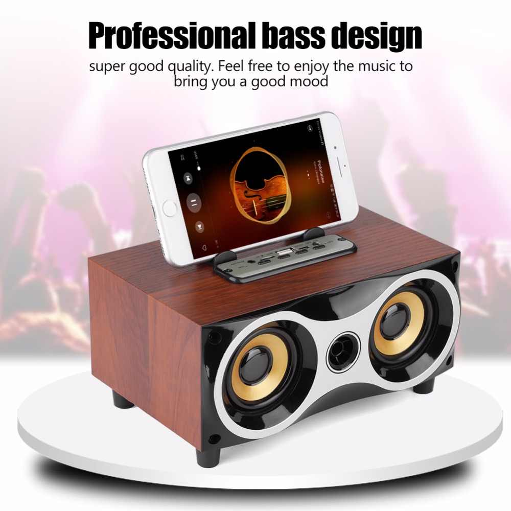 Kayu Portabel Bluetooth Speaker Bass Soundbar Subwoofer Wireless Speaker Home Theater Pusat Musik FM AUX FM Musik BOOMBOX