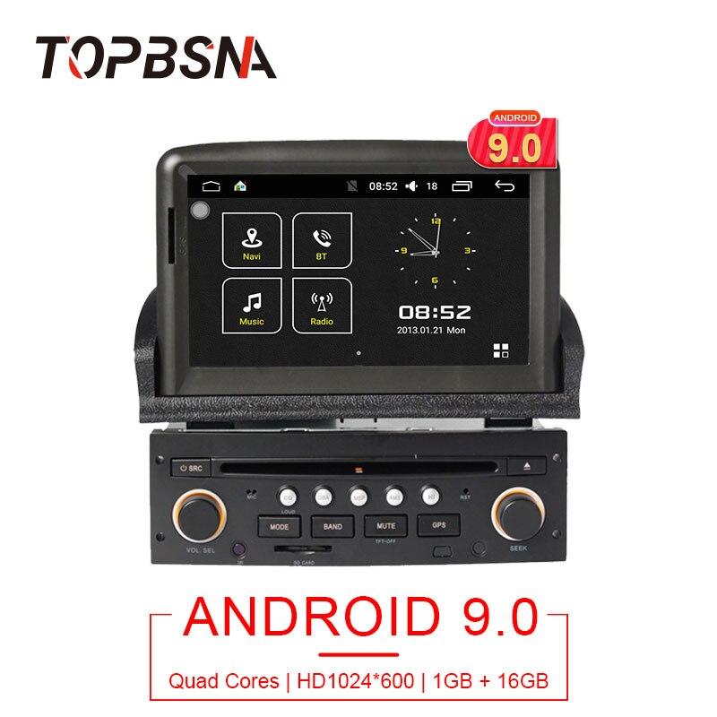 TOPBSNA 1 din 7 pouces Android 9.0 lecteur dvd de voiture pour Peugeot 307 2007-2011 Radio GPS Navigation WIFI mirroir-link headunit USB RDS