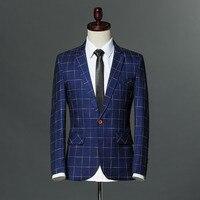 2018 Brand Fashion Men Suit Jacket Royal Blue Wine Red Plaid Blazer Casual Slim Fit Single