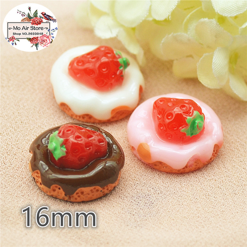 10pcs Strawberry Fruit Cake Resin Flat Back Cabochon Miniature Food Art Supply Decoration Charm Craft DIY 16mm