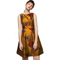 African Fashion Dresses Sleeveless Dashiki Dress Tailor Custom Made African Printing Clothes For Party Wedding