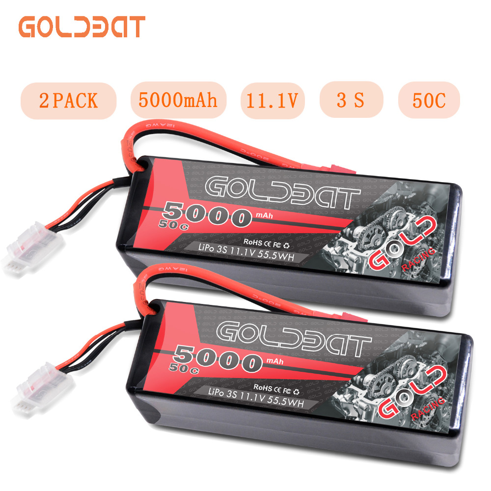 2UNITS GOLDBAT 5000mAh LiPo Battery for rc car 3S RC LiPo Battery LiPo 11.1V 3S lipo 50C with XT60 T Plug For RC Heli Car Boat image
