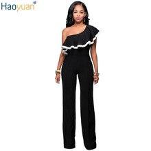 Haoyuan модные, пикантные комбинезон женские Elegante комбинезон черный с открытыми плечами One Piece Боди Лето Тонкий Повседневный Комбинезон