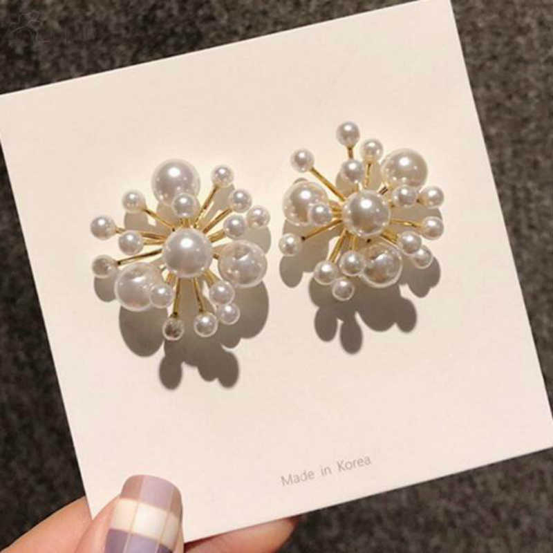 2019 new Earings Fashion Jewelry fireworks Design Simulated Pearl Flower Big Stud Earrings For Women Bride Wedding Oorbellen