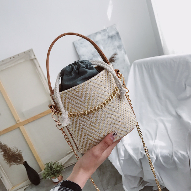 Miyahouse Fashion Straw Design Small Shoulder Bag For Female Bucket Bag With Chain Lady Crossbody Bag glitter decor chain crossbody bag