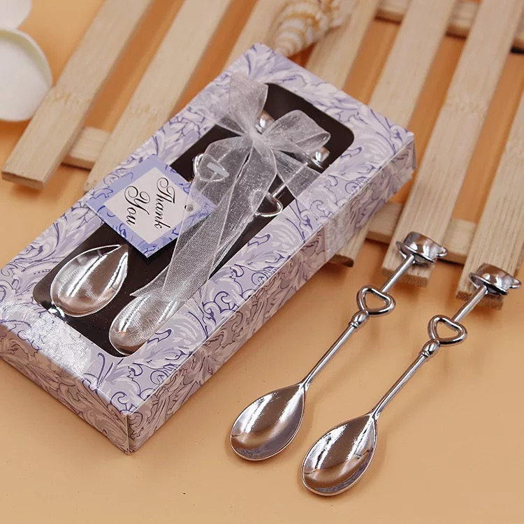 Cheap Return Gifts For Wedding: 50set Lot Cheap Practical Metal Coffee Spoon Set Bridal