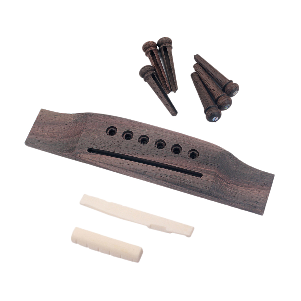 TOP!-<font><b>Acoustic</b></font> <font><b>Guitar</b></font> Replacement Set Ebony <font><b>Bridge</b></font> End Pins Bone <font><b>Saddle</b></font> & Nut and wood <font><b>Bridge</b></font> Parts image