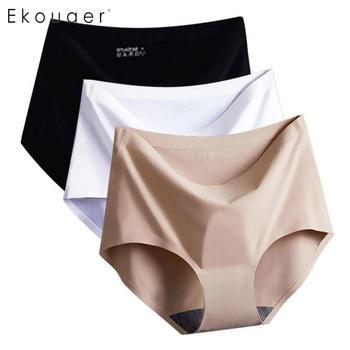 Ekouaer Underwear Briefs Women Sexy Ice Silk Breathable Seamless Panties Briefs Ladies Girls Intimates Panty Underpants M-XL panties