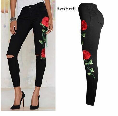 RenYvtil 3XL Baru 2017 wanita Antik Bunga Menyulam jeans Ripped Pensil  Peregangan Denim Celana Skinny Slim 0aeca5264e