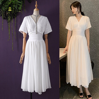 Tingfly Vintage Retro Empire White/Black Dress Unique Ruched Summer Chiffon Dress Long Casual Dress Lady Office Work Dress New