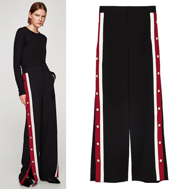 Elastic high waist red and white stripes with   wide   open button   wide     leg     pants