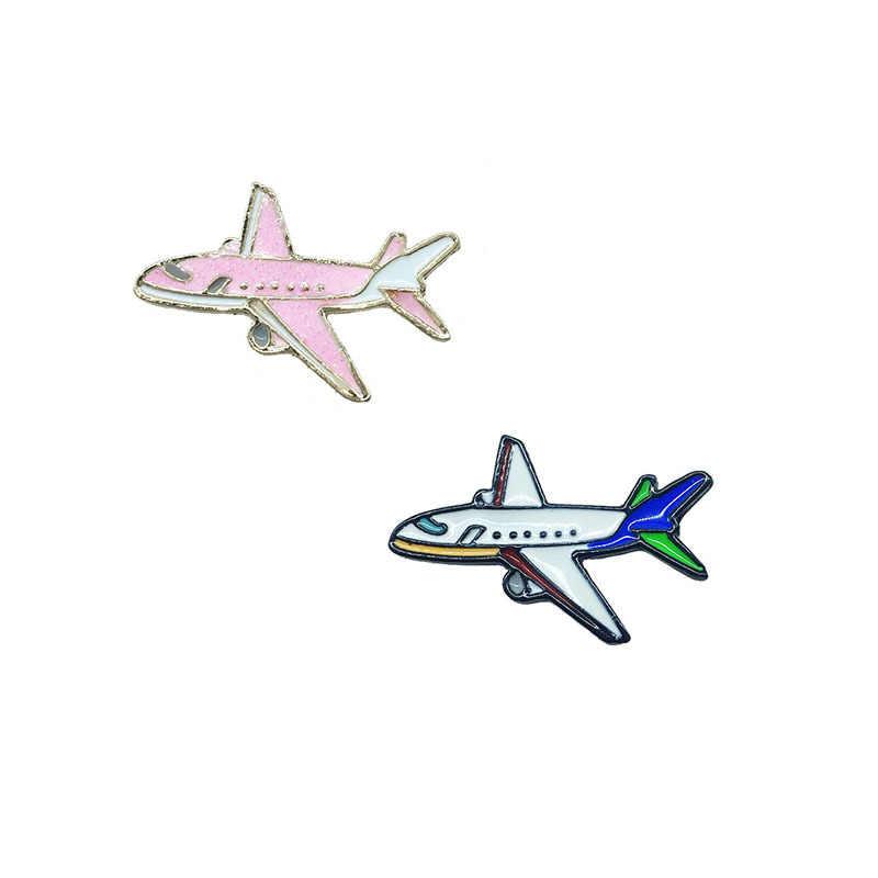 Милые розовые Броши в форме самолета для женщин, креативные Металлические Булавки, ювелирные изделия, эмаль, джинсовые куртки, рюкзак, сумка, аксессуары, подарок