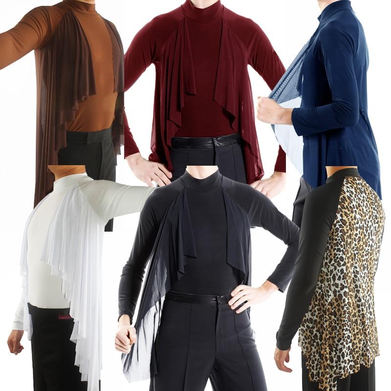 New Latin Dance Shirts Long Sleeves Men Ballroom Competition Performance Wear Tops Latino Samba Tango Dancing
