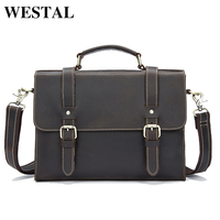 Hot Sale Crazy Horse Leather Men Bags Casual Briefcase Portfolio Genuine Leather Business Bags Messenger Shoulder