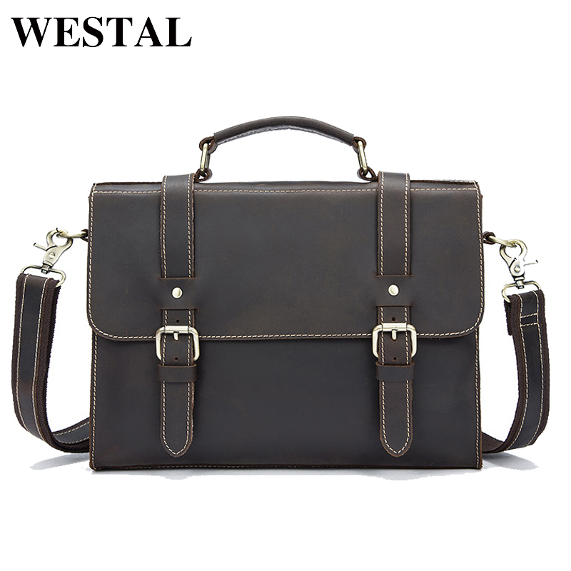 WESTAL Men Bags Crazy Horse Leather Casual Briefcase Portfolio Genuine Leather Man Business Bag Messenger Shoulder Laptop 9027 обучающая книга мозаика синтез кружочки подбери по цвету мс10114