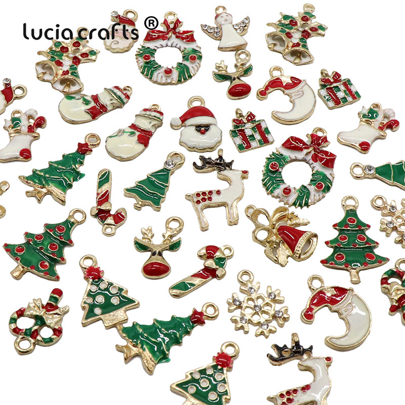13PCS/19PCS Creative Christmas Pendant Ornaments DIY Metal Crafts Xmas Tree Christmas Party Wedding Decorations Kids Gift H0250