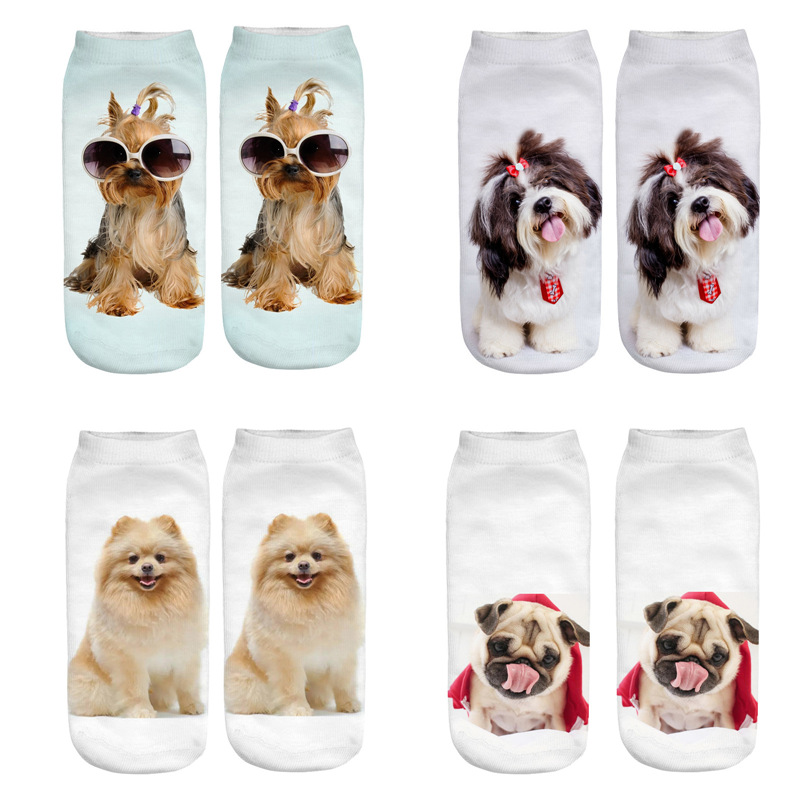 Dreamlikelin 1 Pair 3D Cute Funny Dogs Friends Funny <font><b>Animal</b></font> <font><b>Socks</b></font> <font><b>Unisex</b></font> Ankle <font><b>Sock</b></font> image