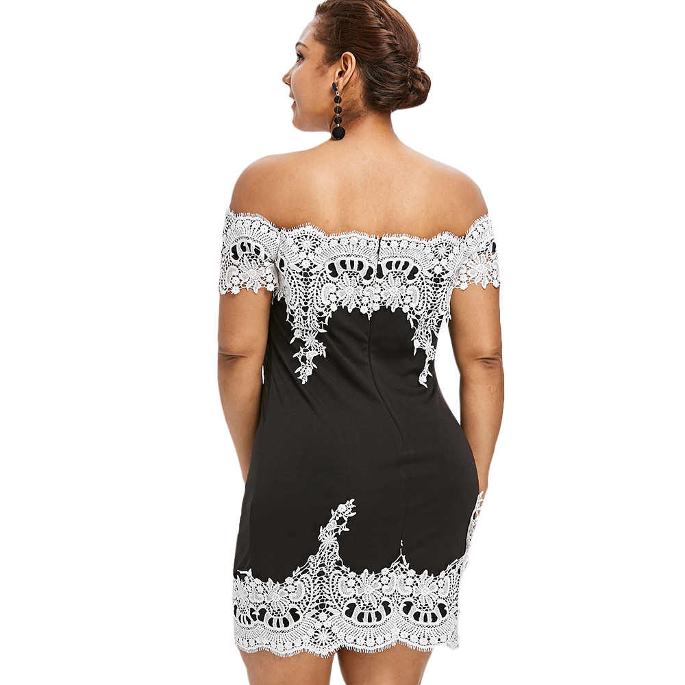 ... Plus Size Sexy Dress Women Eyelash Lace Trim Bodycon Off The Shoulder  Short Sleeves Slash Neck ... 376cbea865ad