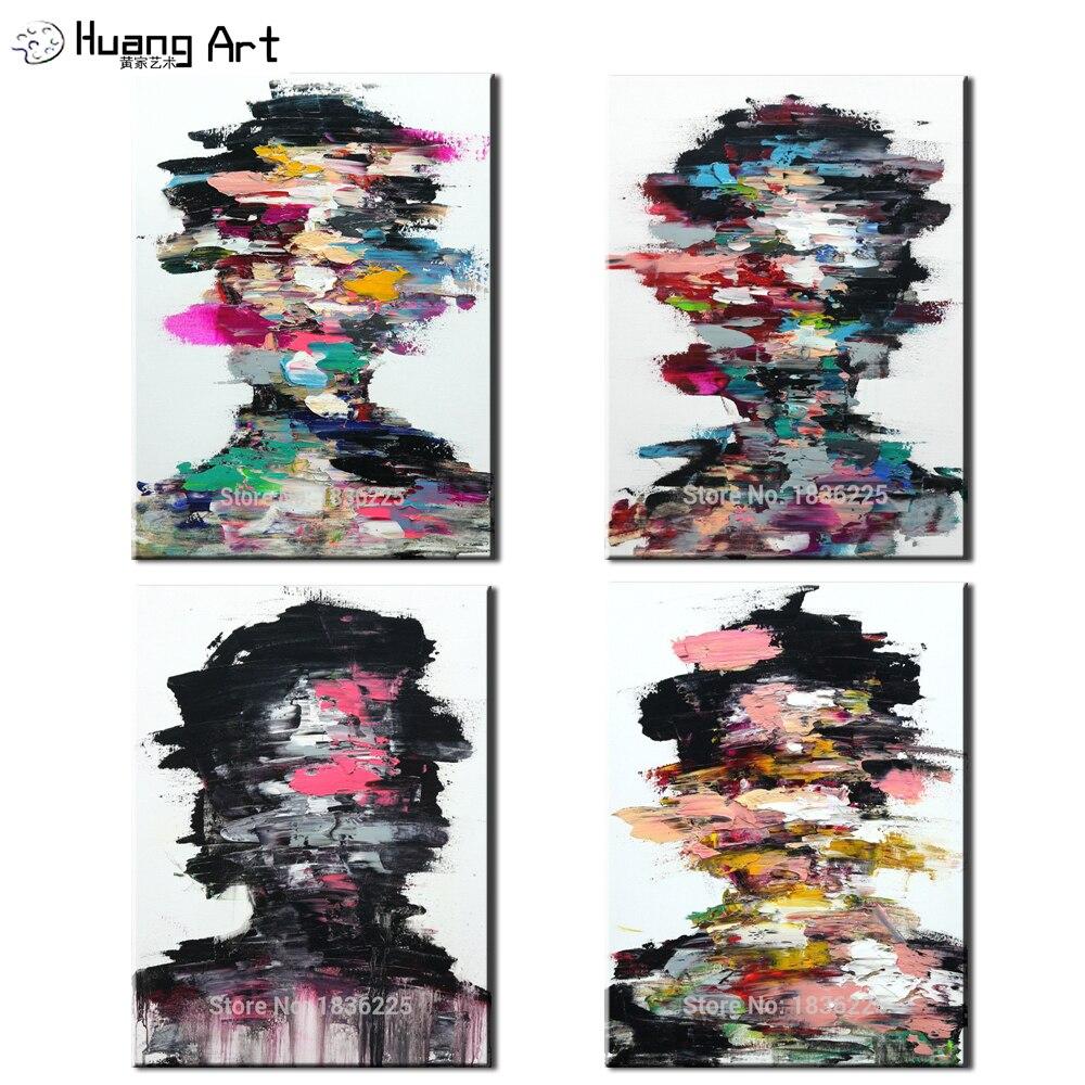 Lourd Texture Palette couteau peinture mur Art fait à la main abstrait moderne homme visage peinture à l'huile sur toile pour salon décor Art