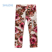 SHUZHI Fashion flowers baby girls jeans kids jeans for girl child denim full length pants for girl 2-8 years