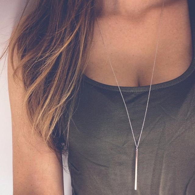 Simples Clássico Da Moda Vara Colar de Pingente Oco Menina Longo Elo Da Cadeia Colares longos Jóias Tira de Cobre Quadrado para As Mulheres