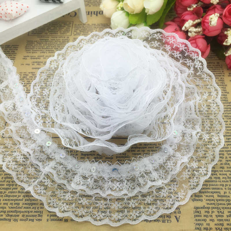 New 5 yards 3-Layer 45mm Beautiful Organza Lace Gathered Pleated Sequined Trim