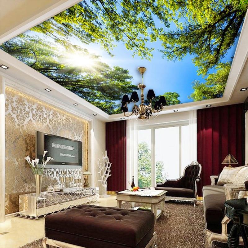 Us 8 89 53 Off Custom 3d Wall Mural Wallpaper Landscape Sky Ceiling Mural Wallpaper Sunlight Green Forest Hotel Restaurant Living Room Backdrop In