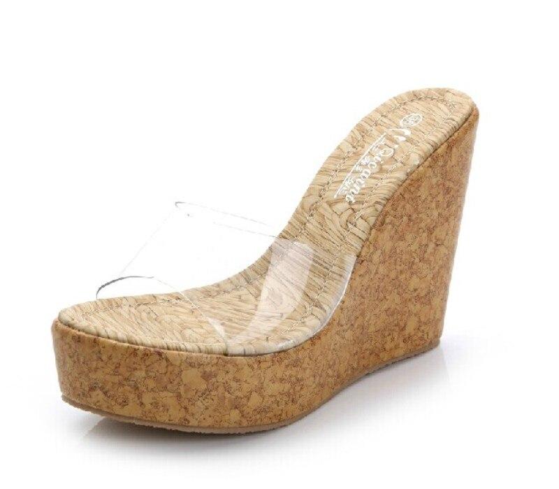 Encanto 11.5 cm transparente cuña del deslizador del Verano 2017 mujer alta  plataforma del talón Sandalias pantoufles de la moneda de las mujeres  Zapatos 1ddfbde5233a