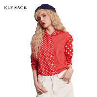 ELF SACK 2017 Autumn Women Blouses Polka Doats Casual Shirts Female Long Sleeve Peter Pan Collar Slim Cotton Blouses