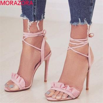 MORAZORA 2019 plus size 45 super high heels shoes woman flock lace up summer shoes solid colors party prom shoes women sandals
