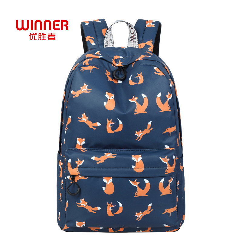 Winner Cute Animal Fox Printing School Backpacks Waterproof Women Bag Laptop Backpack Female Mochila Bolsas E Sacolas