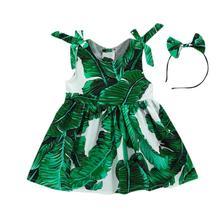 930f0b3b61e010 Neue sommer kleid Kleinkind Kinder Baby Mädchen Blätter Drucken Kleid  Bänder Partei Prinzessin Kleider mode lässig für 6-24 mona.