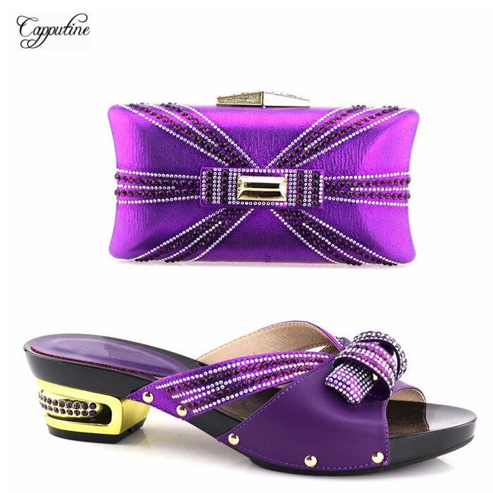 Красивый фиолетовый без шнуровки туфли-лодочки и сумочка со стразами для вечерние YH2018-03, высота каблука 5,3 см