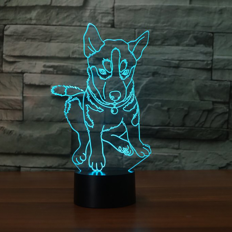 7 Colors Lightings Childrens Bedside Sleep Room Table Desk Lamp 3D Husky Modelling LED USB Dog Changing Night Light Decor Gifts