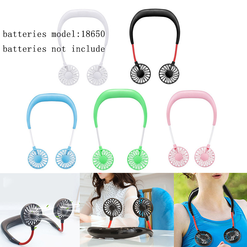 3 Wind Adjustable Speed Portable Neckband Fans USB Rechargeable Hands-free Wearable Fan Traveling Office Without 18650 Battery