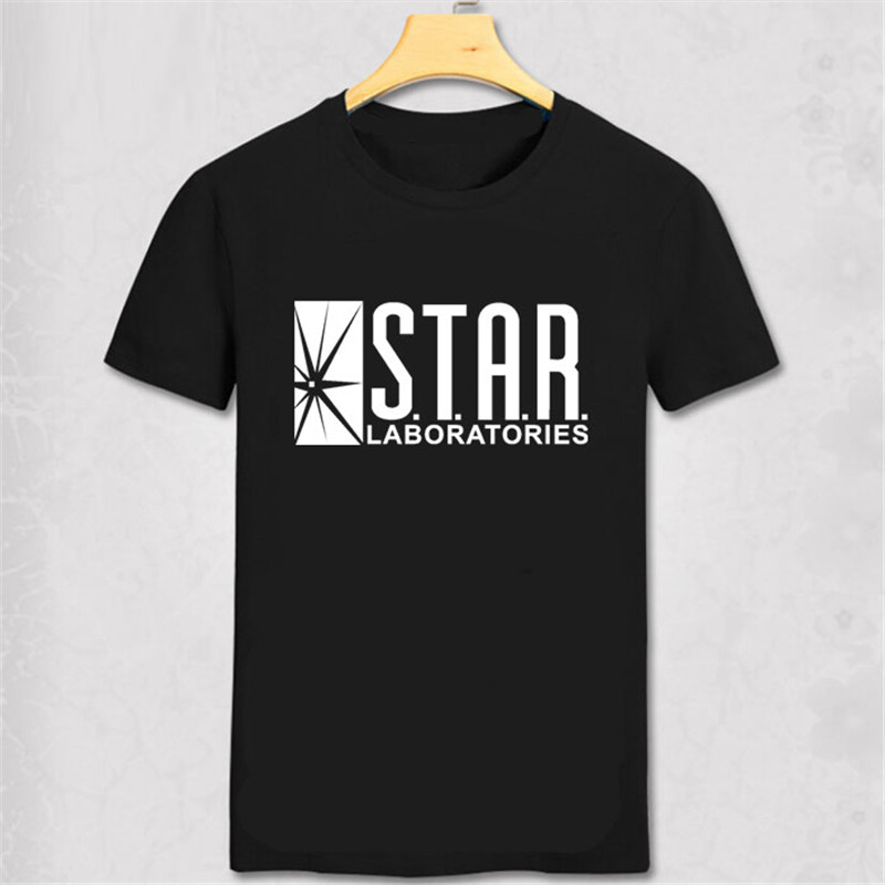 STAR S.T.A.R.labs DC the flash black t shirt comic friday tv short sleeve Marvel t-shirt Summer Men Women Pure Cotton Short Tee