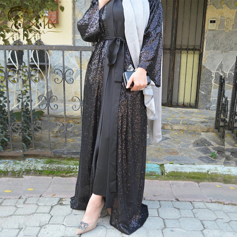 Plus Size Black Sequined Kimonos Mujer 2019 Abaya Muslim Women Long Patchwork Chiffon Lace Cardigan Kimono