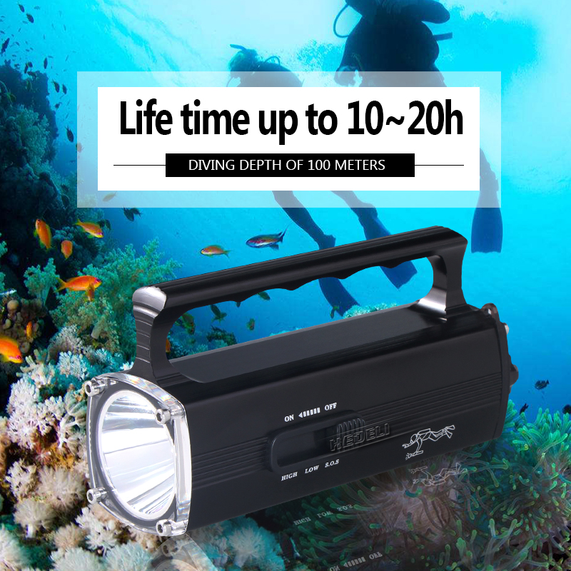 Scuba 100m Underwater Light Built-in Battery Professional Diving Flashlight Torch Led Xm L2 Charge Flashlight Led Flashlights Led Lighting