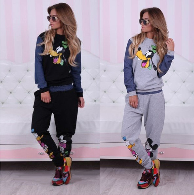 2015 Autumn women long sleeve Mickey Print Tracksuits Sweatshirts pullover cute hoodies and pant 2 piece set outfits